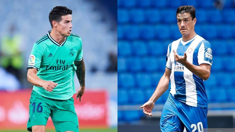 James Rodríguez (Real Madrid), Bernardo Espinosa (Espanyol) / AFP