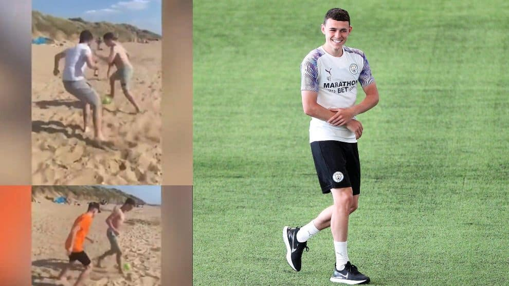 "Phil Foden durante el ""partidito"" en la playa / The Sun / AFP"