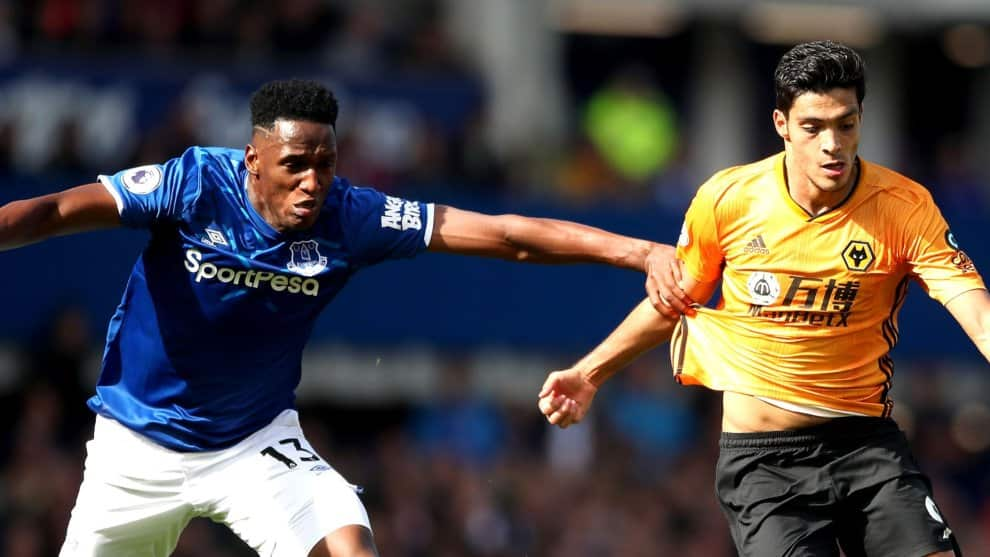 Yerry Mina. Everton vs. Wolves / AFP