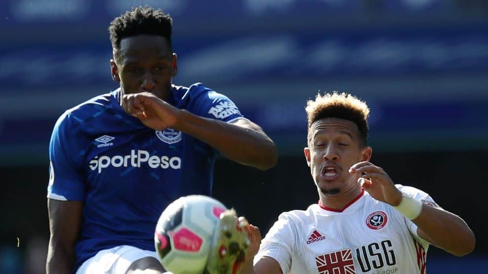 Yerry Mina. Everton vs. Sheffield United / AFP